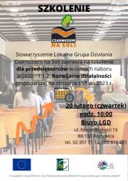 LGD Czarnoziem na Soli - Szkolenie dla przedsiębiorców ubiegających się o dofinansowanie na rozwój działalności