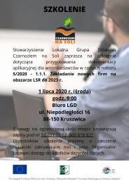 LGD Czarnoziem na Soli - Szkolenie dla wnioskodawców ubiegających się o dofinansowanie na podejmowanie działalności